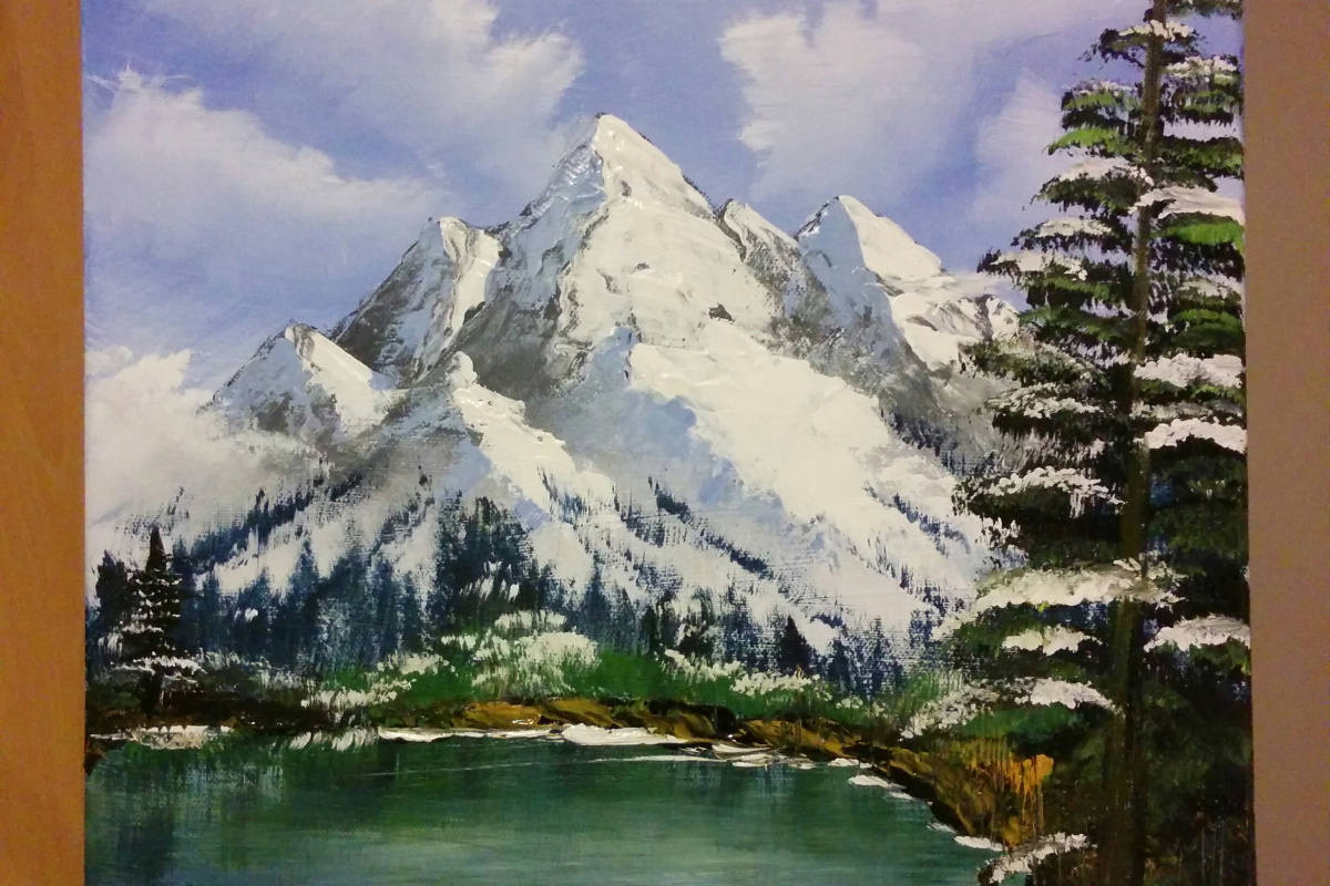 Painting in the style of Bob Ross